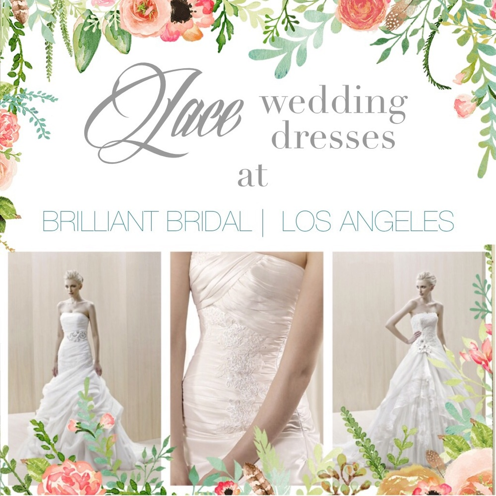 Lace wedding dresses at our Los Angeles Bridal Store. Desktop Image